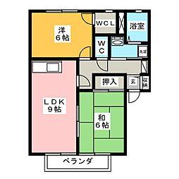 サンライフこの B棟[2階]の間取り
