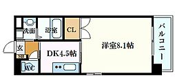 JR山陽本線 広島駅 徒歩8分の賃貸マンション 9階1DKの間取り