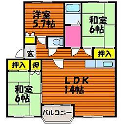 岡山県倉敷市連島町鶴新田の賃貸マンションの間取り