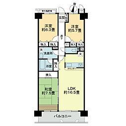 ライオンズマンション北鈴蘭台第2[7階]の間取り