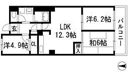 兵庫県宝塚市中山五月台7丁目の賃貸マンションの間取り