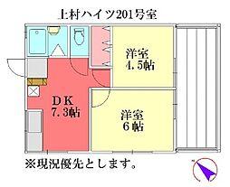 上村ハイツ[201号室]の間取り