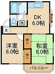 千葉県松戸市三矢小台4丁目の賃貸アパートの間取り
