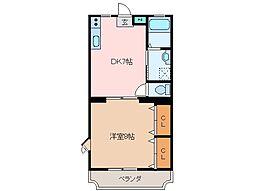 三重県松阪市上川町の賃貸マンションの間取り