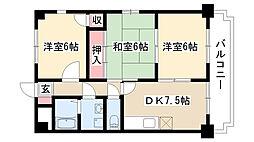 愛知県名古屋市南区星宮町の賃貸マンションの間取り