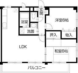 井原鉄道 いずえ駅 徒歩8分の賃貸マンション 2階2LDKの間取り