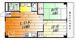コーポ南千里[3階]の間取り