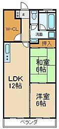 サンハイツ喜多[4階]の間取り