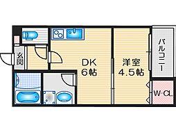 阪急京都本線 茨木市駅 徒歩11分の賃貸アパート 3階1DKの間取り