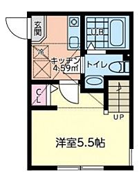 JR横浜線 橋本駅 徒歩14分の賃貸アパート 2階1Kの間取り