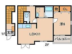JR紀勢本線 海南駅 バス15分 沖野々下車 徒歩1分の賃貸アパート 2階1LDKの間取り
