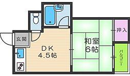プレアール駒川II[4階]の間取り