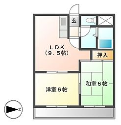 カサ松下[5階]の間取り