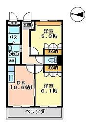 ハッピーハウス[202号室]の間取り