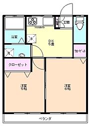 新座 アパート 北野コーポ[2階]の間取り