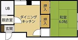 プラザ和田 3階1DKの間取り