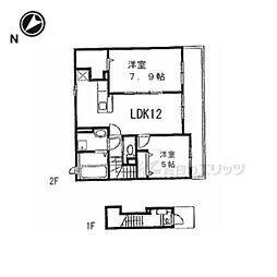 JR湖西線 比叡山坂本駅 徒歩7分の賃貸アパート 2階2LDKの間取り