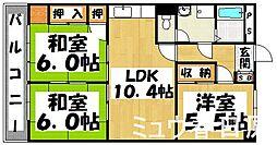 福岡県大野城市紫台の賃貸マンションの間取り