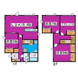 JR学園都市線 篠路駅 徒歩15分の賃貸一戸建て 4LDKの間取り