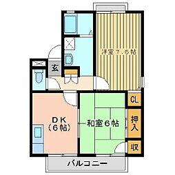 福島県郡山市喜久田町堀之内の賃貸アパートの間取り