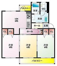 香里三井団地[107号室]の間取り