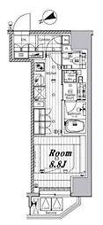 メイクスデザイン芝公園 2階ワンルームの間取り