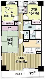 大阪府大阪市中央区島町1丁目の賃貸マンションの間取り