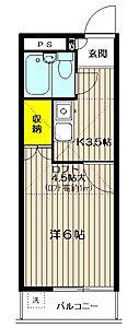 間取り,1K,面積19.2m2,賃料5.5万円,JR中央線 武蔵境駅 徒歩11分,,東京都武蔵野市境5丁目.