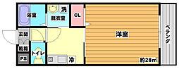 千里山サンライズ 4階1Kの間取り