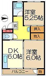 神奈川県横浜市港南区下永谷6丁目の賃貸マンションの間取り