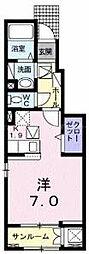 JR津山線 法界院駅 徒歩15分の賃貸アパート 1階1Kの間取り