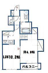 神奈川県横浜市鶴見区江ケ崎町の賃貸アパートの間取り