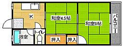 綾之町コーポ[2階]の間取り