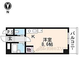 イクスピリオド京都河原町 4階ワンルームの間取り