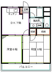 東京都国分寺市東戸倉1丁目の賃貸マンションの間取り