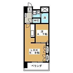 ディークレスト太子堂駅前East[8階]の間取り