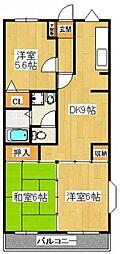 クレスト飯塚[2階]の間取り
