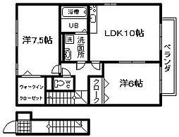 プラムパディーA棟[2階]の間取り