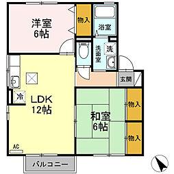 ファミール矢田B棟[B102号室]の間取り