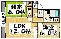 福岡県春日市若葉台東4丁目の賃貸アパートの間取り