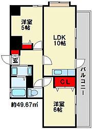 ラフィーネ小倉[4階]の間取り