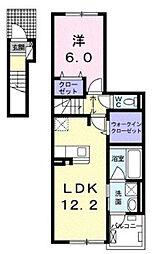 サニーサイド 2階1LDKの間取り