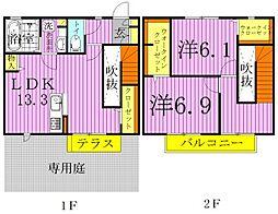 [テラスハウス] 千葉県柏市大室2丁目 の賃貸【千葉県/柏市】の間取り