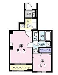 流山アパートB 1階2Kの間取り