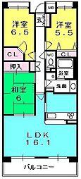 甲子園六石町ハイツ[302号室]の間取り
