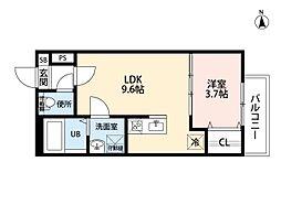 愛知県名古屋市中川区荒子2丁目の賃貸アパートの間取り