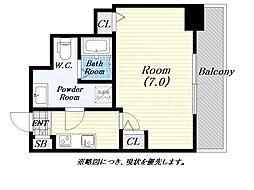 meetMe梅田西 5階1Kの間取り