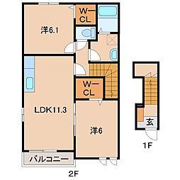 和歌山県和歌山市山口西の賃貸アパートの間取り