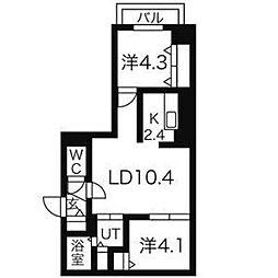 北海道札幌市豊平区平岸一条2丁目の賃貸マンションの間取り