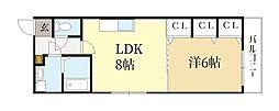近鉄京都線 伏見駅 徒歩5分の賃貸マンション 1階1LDKの間取り
